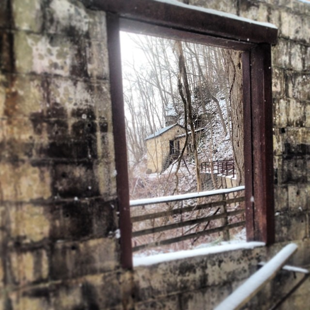 A view of the powder house from the window of the lamphouse.